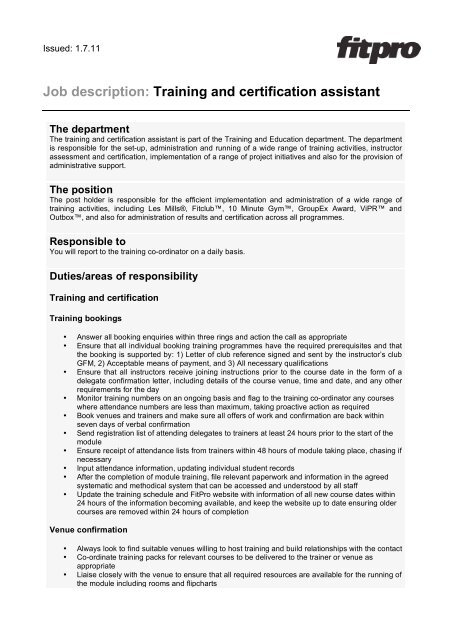 View training and certification assistant job description