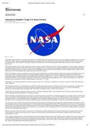 International Suppliers Target U.S. Space Industry - uppsagd