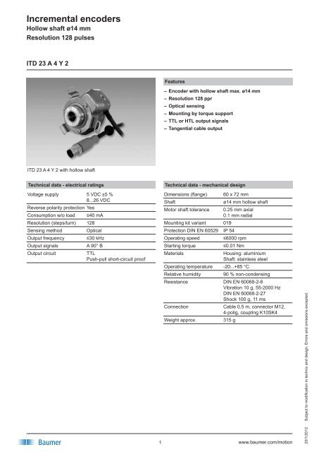 Incremental encoders - Baumer Thalheim