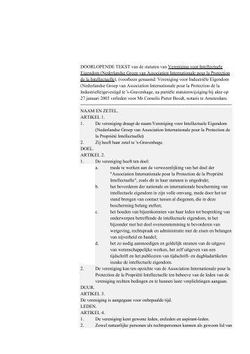 DOORLOPENDE TEKST van de statuten van Vereniging ... - Aippi