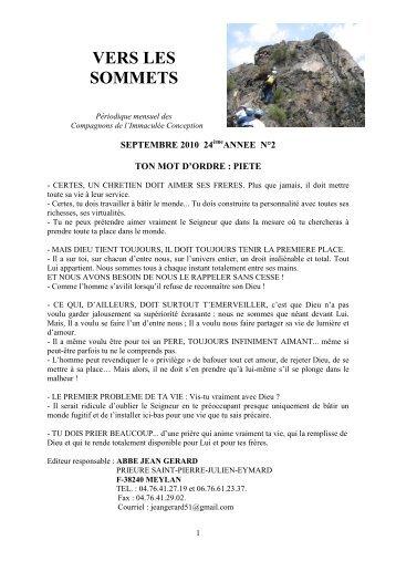 Vers les sommets de septembre 2010 - Ton mot d ... - La Porte Latine