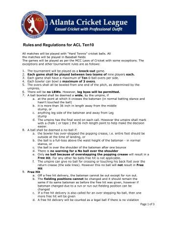 Cricket Tournament Rules and Regulations Venue: Busch ...