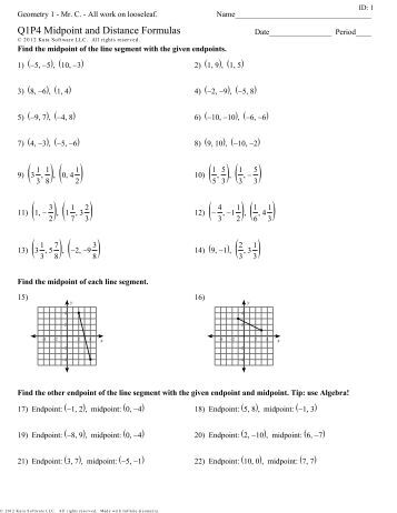 Printables Distance Formula Worksheet midpoint and distance formula worksheet davezan 1 8 use the or