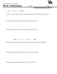 Stoichiometry Review WS _1 - Foothill High School