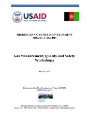 Gas Measurement, Quality and Safety Workshops - Afghan