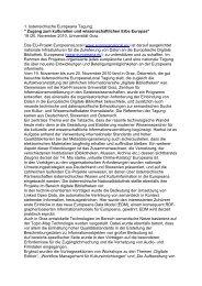 1. österreichische Europeana Tagung: