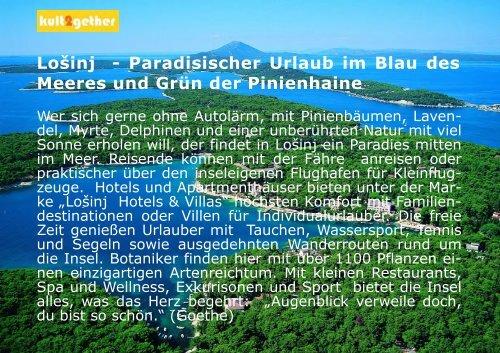 Paradisischer Urlaub im Blau des Meeres und Grün ... - Losinj Hotels