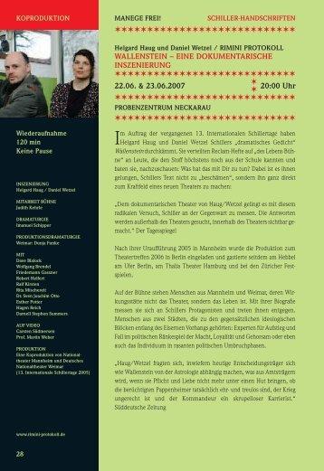 Wallenstein - 17. Internationale Schillertage