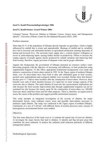 Josef G. Knoll-Wissenschaftspreisträger 2006 ... - Stiftung Fiat Panis