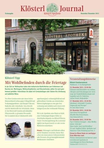 Klösterl-Journal November/Dezember 2011 (PDF) - Klösterl-Apotheke