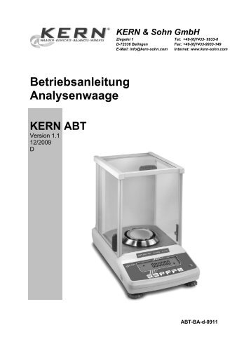 Betriebsanleitung Analysenwaage - Waagenshop.biz