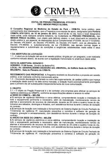 EDITAL EDITAL DE PREGÃO PRESENCIAL W01/2013 TIPO ...