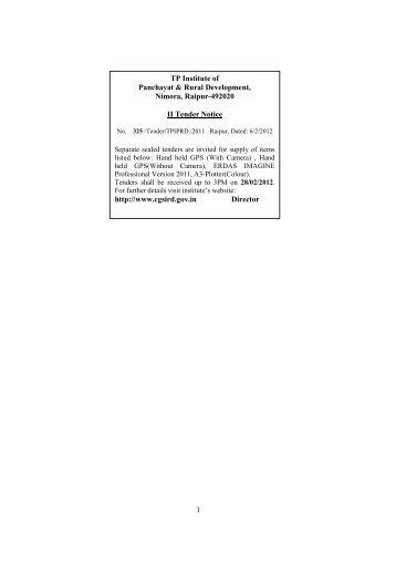 Thakur Pyarelal Institute of Panchayat & Rural ... - Cgsird.gov.in