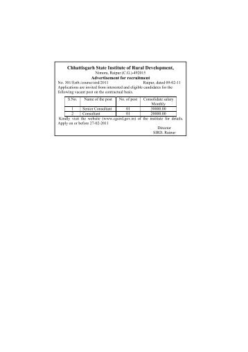 Chhattisgarh State Institute of Rural Development, - Cgsird.gov.in