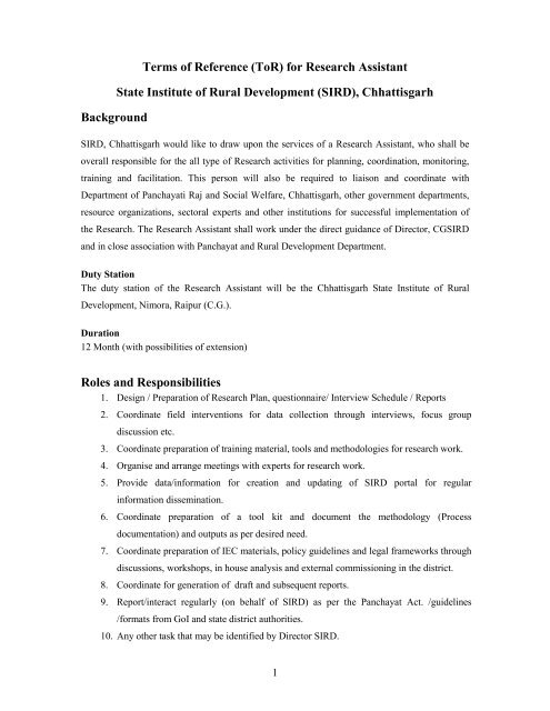 Terms of Reference (ToR) for Research Assistant ... - Cgsird.gov.in