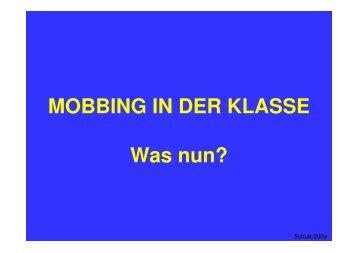 MOBBING IN DER KLASSE Was nun? - Kinderzentrum Mecklenburg