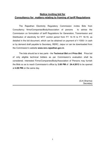 invitation of bids for consultancy relating to framing of tariff