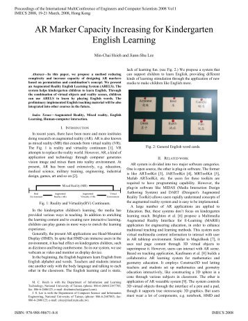 AR Marker Capacity Increasing for Kindergarten English Learning