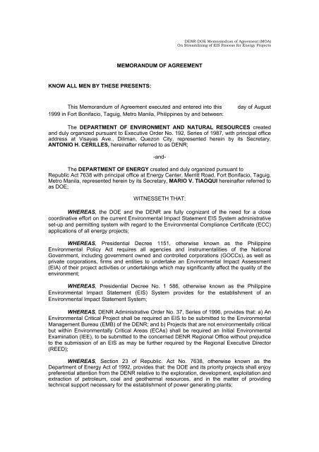 Denr Doe Memorandum Of Agreement Moa Ccop