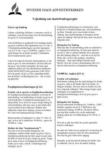Vejledning om skattefradragsregler - Syvende Dags Adventistkirken