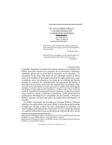 el telos aristotélico y su influencia en la biología ... - Ludus Vitalis