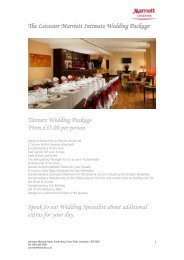 The Leicester Marriott Intimate Wedding Package