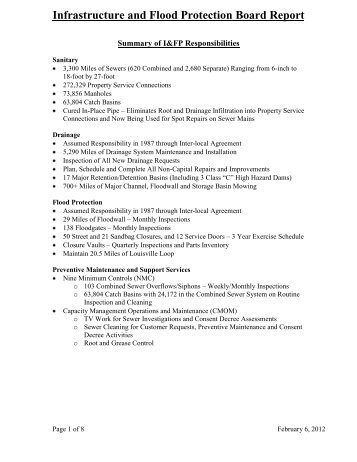 Infrastructure and Flood Protection Board Report - MSD