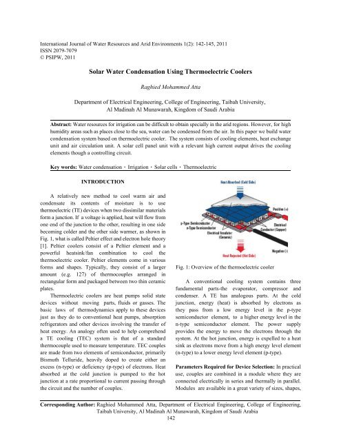 Solar Water Condensation Using Thermoelectric Coolers