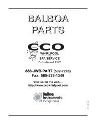 1-888-JWB-PART - CCO Whirlpool and Spa Service on