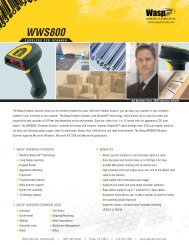Specifications - Wasp Barcode Technologies