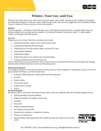 safety fact sheet Winter, Your Car, and You - Utah Safety Council