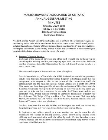 2008-2009 AGM Minutes - Master Bowlers Association of Ontario
