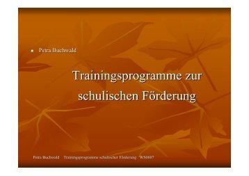Trainingsprogramme zur schulischen Förderung - Petra-buchwald.de