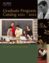 Graduate Program Catalog 2011 - 2012 - AOMA Graduate School of ...