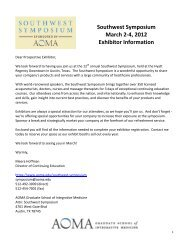 Southwest Symposium - AOMA Graduate School of Integrative ...