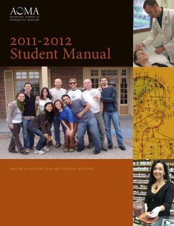 Student Manual - AOMA Graduate School of Integrative Medicine