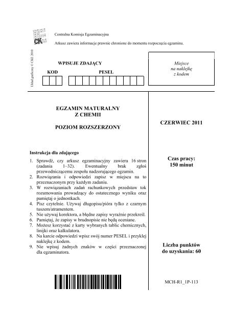 EGZAMIN MATURALNY Z CHEMII POZIOM ROZSZERZONY ...