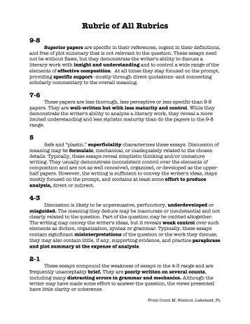 ap literature exam essay rubric