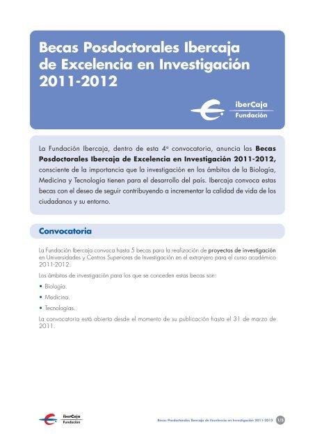 30069 Becas Posdoctorales 2011 Bases - Ibercaja Obra Social