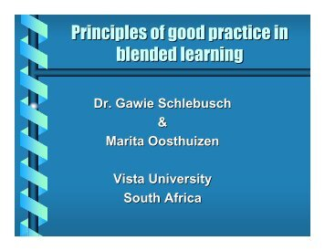 Principles of good practice in blended learning