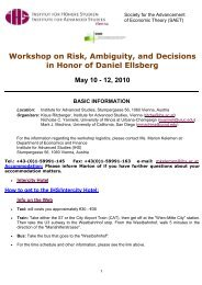 Workshop on Risk, Ambiguity, and Decisions in Honor of Daniel - IHS