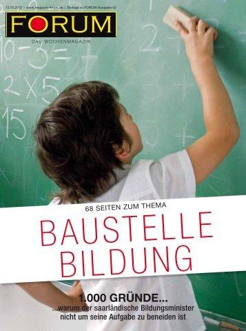 2012-10-12 FORUM Beilage: Baustelle Bildung - Vo-saar.de