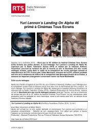 Yuri Lennon's Landing On Alpha 46 primé à Cinémas Tous ... - rts.ch