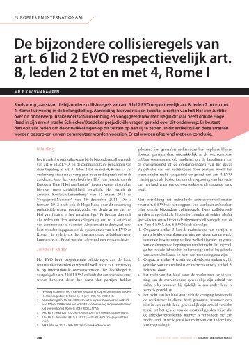 De bijzondere collisieregels van art. 6 lid 2 EVO respectievelijk ... - Akd