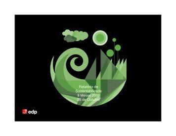Relatório de Sustentabilidade 9 Meses 2009 28 de Outubro - EDP