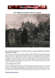 Des villageois roumains contre les vampires - Infos-paranormal.net