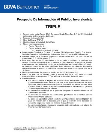 Prospecto de Información - Bancomer.com