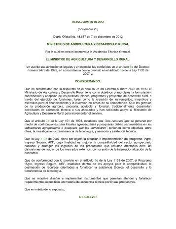Conocer esta Resolución - Ministerio de Agricultura y Desarrollo Rural