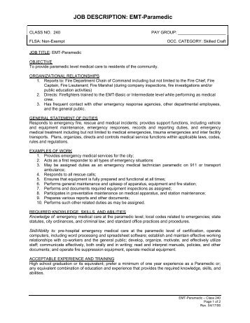 Emt Paramedic Job Description  VbemsCom