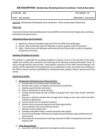 Event Coordinator Job Description Sample Special Events Coordinator